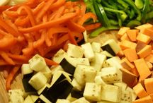 Diced vegetables.