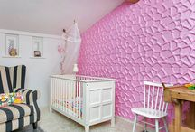 WallArt 3D: Gaps design / Pink painted Gabs-design is this kids room. We think a very good idea. What do you think ?