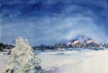winter watercolors & pastells