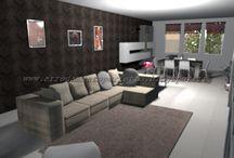 Il living contemporaneo by Consigli D'arredo / Progetto d'arredo in 3D di un grande living in stile contemporaneo