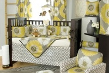 vintage grey and yellow bedroom