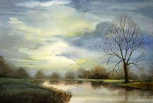 Watercolor landscape tree stream