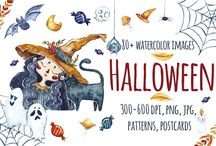 Halloween Resources / Halloween illustrations and fonts - resources for Halloween promotional material
