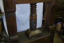 Large oak antique wine press dated from 1833 with fruit wood screw / Wine press