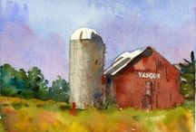 Big Red Barn / A beautiful bit of Americana, the paintings of this red barn and the farm animals within are symbolic of America.