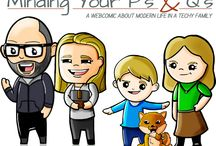 Minding Your P's & Q's Webcomic / A Weekly Webcomic About Modern Life In A Techy Family