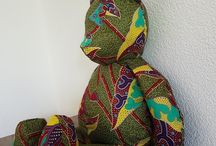 Miko the bear / Ours en pagne, tissu wax, made in Switzerland. #mikothebear on Facebook