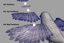 Птицы, Перья в Blender 3D