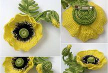 flores al crochet , tela,cierres,viruta carton. / hacer flores