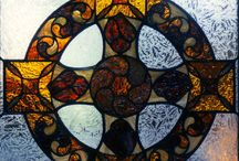 Stained Glass Madalion / Celtic Cross window we created for a client's home.