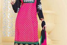 Embroidered Salwar Kameez - rol-3601 / Latest Salwar Kameez in Chanderi Silk and Cotton
