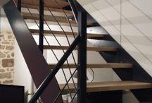 RÉALISATIONS Escaliers / Escaliers sur mesure en acier, inox ou aluminium, mixage possible avec du bois, du verre, du cuir, du bronze... selon votre imagination !