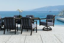 Legend Collection / With a classical yet open frame seating design, the CASTELLE LEGEND collection will be at home in any luxury outdoor room. The linear back design stands in contrast with the simple framed open arm design.