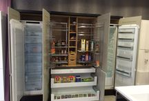 Used Full Chefs Pantry with Integrated Fridge and Freezer / A Beautiful stand alone piece with Shaker Door in Apple Grey with 50mm Dark Oak Veneered Panels, a 1200mm Dresser section with Blum Intivo drawer boxes below; and a Full Pull out Storage section with hand made internal shelving. Located in Hertfordshire.