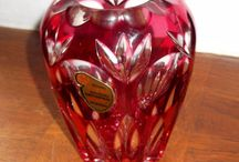Joska Crystal optic crabberry vintage german vase