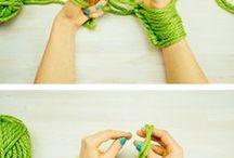 tricô com os braços