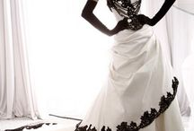 Black and White Wedding Dresses / Elegant Black and White Wedding Dresses
