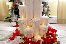 velas de natal com rolos de papelao