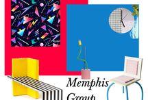 A-B. SET GRUPO MEMPHIS. POLYVORE / Inspiración: GRUPO MEMPHIS (años 80). Ettore Sottsass. Geometría, colores vivos.