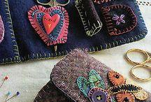 vlněné quilty a patchwork, taštičky a aplikace