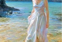 白いドレスの絵画
