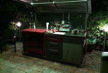 Gartenküche / Outdoorkitchen fahrbar, Klappdach, Holzküchenherd, Gasgrill,