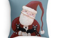 Christmas Cat Art - KilkennyCatArt / Featuring my original cat folk art paintings for Christmas!