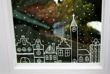 winter window painting white