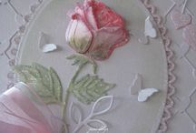 Rose/butterfly's on white
