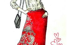 My Fashion sketches / I am fashion designer & illustrator. I love color and feminine shape. Now days I am inspired by INDIA and here are my sketches :)
