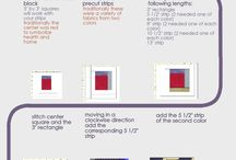 Piktocharts, infographics / Pictocharts that I've created for new quilters.  Each one shows how to create a different block.