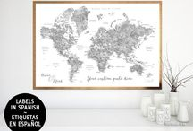~ World maps ~ Gray watercolor world maps in Spanish, with cities