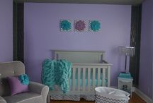 purple and blue baby room