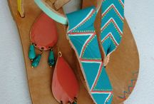 Sol * Full Sandals / Hand-painted leather sandals