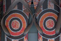 Aboriginal Thongs / Authentic Aboriginal Art by Kelly Roach - a descendant of the Kamilaroi People of north-eastern NSW.  Kelly's art is inspired by the Kamilaroi Dreamtime and blends both Aboriginal and contemporary Australian Art.