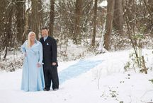 S N O W  D A Y / When others bundle up at home, my husband & I are crossing off a bucket list item by taking some photos in our wedding attire, and all 27 feet of my train while it's snowing. Photos taken at a nearby park in Beaverton. Photographer is: Ashley Schneider. In the shot: Dennis & M'chel Gleason