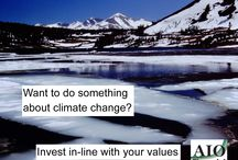 Climate Change Investing / Using investments to influence climate change.  Through the socially responsible investing strategies of: screening, shareholder advocacy and community investing to influence companies to be more responsible around global warming and climate change