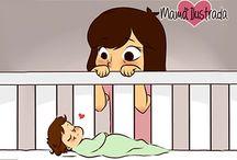 Σκίτσα για τις μαμάδες / Να είσαι μαμά σημαίνει να βλέπεις το μωρό σου να κοιμάται και να λιώνεις. Να τρέχεις και να μην φτάνεις αλλά να είσαι ευτυχισμένη!