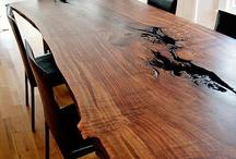 Wood slab table