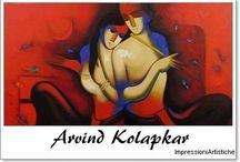 ⊱ Arvind Kolapkar ⊰  / ≻ Arvind Kolapkar ~ Ahmednagar, Maharashtra, 1975 ≺  Arvind Kolapkar's works are bright, happy expressions of joyous unions. In most of his paintings, one observes an amorous couple or groups of friends enjoying each other's company, giving his work the appearance of a tribute to the relationships that people share. A flute is a constant motif, appearing in almost all of his canvases, provoking one to make references to the mythical Krishna and his idyllic world of joy.