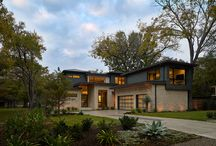 Rivercrest / Three zinc-clad boxes adorn this Lake Austin home, while the stone and stucco provide warmth on the ground floor. An outdoor living area lakeside blends seamlessly with the landscape leading up to the water beyond; a perfect spot for entertaining.