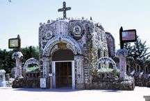Grottos, Religious, Spiritual, Devotional, Mystical Environments / Places made by priests or laypeople, on church or temple grounds, parks, or residential properties, created for religious or spiritual reflection, devotional practices, or places that encourage or induce spiritual or mystical experiences. Emery Bladgon's Healing Machine, the Grotto of the Redemption, St. Eom's Pasaquan, and the Paul and Matilda Wegner Grotto are some examples.