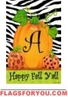 Pumpkins & Zebra Monogram Flag
