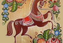 Folk Gorodets painting from Russia.