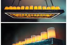 Люстра и бра. Индивидуальный заказ. Парафиновые свечи, металл, LED освещение (два включения).