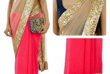 Designer Wear Pink With Golden Border Saree - Designer Saree   Zakasi.com