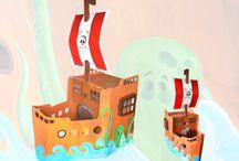 Le bateau pirate en carton d'Agathe !