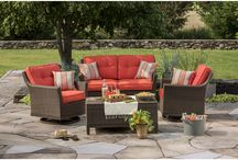 Outdoor Living / One of the best ways to spend the summer months is in the backyard lounging on patio furniture with friends and family. Update your outdoor space with our selection of slate-top tables, deep seating wicker sets and oversized umbrellas now so you can avoid wasting a single minute when relaxing outside.