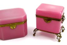 New arrivals: / View This Weeks New Arrivals:  Wonderful Opaline Glass Caskets in White, Greens and Rare Pink Opaline.  Also Some High Quality Antique French Cut Crystal Caskets.