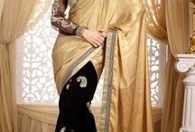 Glamorou Beige Black Embroidered Saree